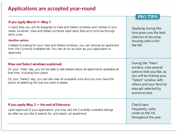 Explanation of application process at different times of the year. Info also in tabs below